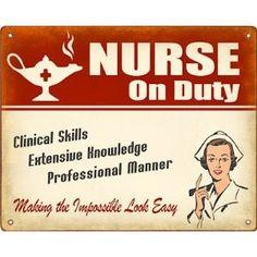 New Retro Signworks Nurse On Duty Metal Sign/Wall Plaque (Female in Uniform)