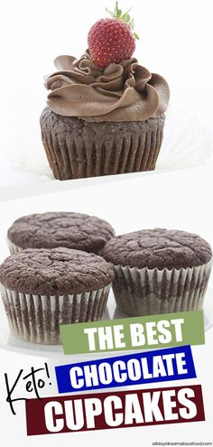 Simply the BEST chocolate coconut flour cupcakes you will ever eat Tender and moist with a fun crumb Not eggy at all No one ever knows that these sweet treats are keto an. Low Carb Cupcakes, Mini Cupcakes, Keto Friendly Desserts, Low Carb Desserts, Chocolate Buttercream, Chocolate Cupcakes, Cupcake Recipes, Dessert Recipes, Thm Recipes