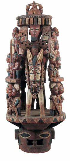 Africa | Epa Headdress, from the Yoruba people, Èkìtì Region, Nigeria | Attributed to Bamgboye of Odò Owá (1888 –1978)
