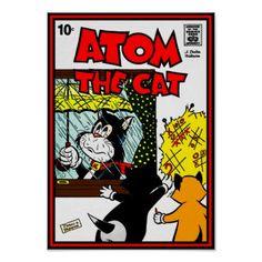 Atom The Cat 10x14 Poster - kids kid child gift idea diy personalize design
