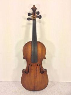 Antique-American-Violin-Mid-19th-Century-2-Piece-Front-1-Piece-Back-No-Makers-La
