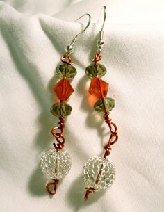 SALE  Beaded dangle earrings  silver red grey by StudioCKH on Etsy, $16.00