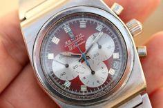 1970 Zenith El Primero Chronograph Red Vignette Dial Vintage
