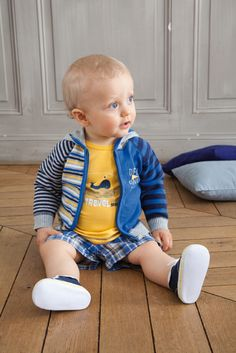 """This blue outerwear from Absorba will keep your boy snug on the chilliest day. The blue cardigan is accentuated with different stripes pattern and """"Denim Finest"""" print at the left chest. The cotton piece is also provided with hood and zip fastening for ea Hooded Cardigan, Blue Cardigan, Baby Boy Fashion, Blue Stripes, Snug, Hoods, Collection, House Tours, Cute"""