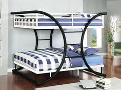 Cumberland Black White Full Metal Bunk Bed For Kids
