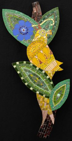 "Yellow  Bird  10""  x  23""  glass, beads, millefiori, gold, dichroic glass  2008"