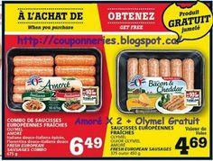 Coupons et Circulaires: 3,24$ 2 emb. de saucisses Olymel