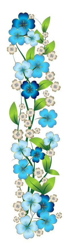 Blue Flower Decor PNG Clipart