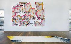 Jennifer Tee, Crystalline Floor Piece / Long (2010), Wallpaper Star-Crossed (2010) -    Jennifer Tee, Crystalline Floor Piece / Long (2010), Wallpaper Star-Crossed (2010). © Gert Jan van Rooij, Museum De Paviljoens