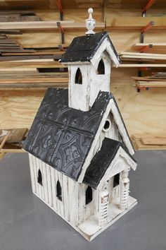 French Country Church Birdhouse, Rustic Church Bird House, Antique Style Birdhouse, Church Birdhouse, Functional birdhouse, Board and Bat