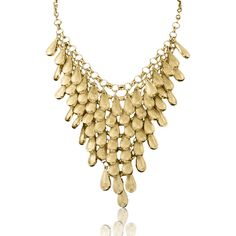 Adoriana Gold Teardrop Bib ($30) ❤ liked on Polyvore featuring jewelry, necklaces, yellow, long bib necklace, yellow jewelry, tear drop necklace, bib jewelry and gold bib necklace