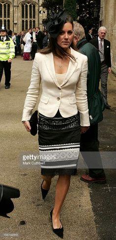 Kate Middleton, Prince William'S Girlfriend Arrives At The Society Wedding Of Hugh Van Cutsem Junior To Rose Astor At Burford Parish Church In Burford.