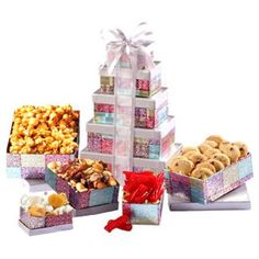 Broadway Basketeers Thinking of You Gift Tower  Gift baskets can be given for a number of occasions and special days including, Christmas, birthdays, and Weddings.  Additionally don't forget gift baskets make great gifts for both bridal and baby showers along with Mothers and Fathers Day.  These also make great housewarming and hoastest gifts    Consider giving a gift basket as a cool way to say thank you, get well, congratulations or even goodbye.  overall we agree gift baskets make great…