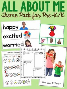 For book lists, printable books, vocabulary cards, hands-on activities, and MORE, check out this 200-page All About Me preschool theme!