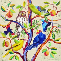 'Makasutu magic tree' This painting shows five different species of birds that I saw in a fig tree while out walking at dawn in the Makasutu forest in The Gambia, West Africa.