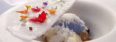 famous yoghurt snow dessert with edible flowers ~ ABaC hotel and restaurant in Barcelona