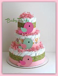 Bird+Diaper+Cake+.+Baby+Girl+baby+Shower+.+Nesting+Baby+by+MsPerks,+$49.99