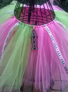 Aka sorority tutu,w/ crystal and pearl detail