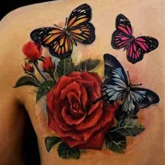 half butterfly tattoos on feet | Tattoos of butterfly and rose for women upper back