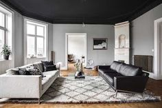 Grateful Stylish Layout Classy Living Room of The Lounge Room - Home of Pondo - Home Design Black Ceiling, Black Walls, Chaise Panton, Classy Living Room, Flooring For Stairs, Living Room Inspiration, Living Area, Family Room, Lounge