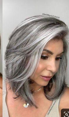 Grey Hair Video, Grey Hair Wig, Silver Grey Hair, Pink Hair, Hair Highlights And Lowlights, Silver Hair Highlights, Grey Hair With Brown Lowlights, Black Hair With Grey Highlights, Medium Hair Styles