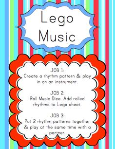 At the Lego Music center, students create rhythm patterns with pre-marked Lego pieces.   To download a Smartboard file that can b...