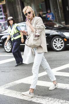 Model Sasha Luss street style new york fashion week ss2015 sandra semburg beige knit alexander wang bag grey céline skater shoes