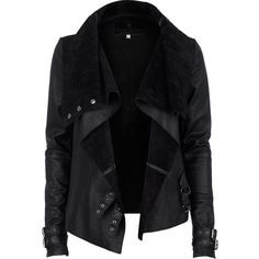 River Island Black Drape Front Leather Jacket ($215) ❤ liked on Polyvore featuring outerwear, jackets, leather jackets, coats, river island, buckle jackets, long sleeve jacket, river island jacket and 100 leather jacket