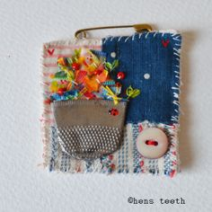 hens teeth : fiber textile Brooch pin :: thimble vase with Ladybird