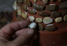 Stone decorated flower pots