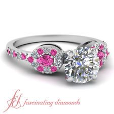 .75 Ct Round Cut Diamond & Enchanting Pink Sapphire Engagement Ring 14K SI3-F