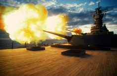 USS Iowa (BB-61) Fires its 16 inch Guns