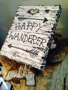Happy Wanderer Birch Bark Plaque - Lake Lodge Cabin Decor