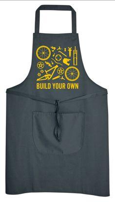 Build Your Own Down Hill Bike Mens Womens Apron Biking Road Racing Bike Mechanic Cycling Clothing Workwear Shop NEW