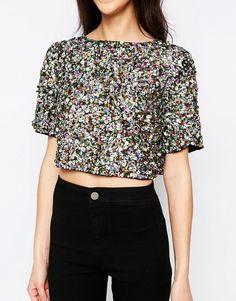 Image 3 -Glamorous Sequin Crop T-Shirt