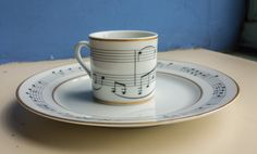 "Tiffany & Co. china with ""Moon River"" sheet music printed on it!"