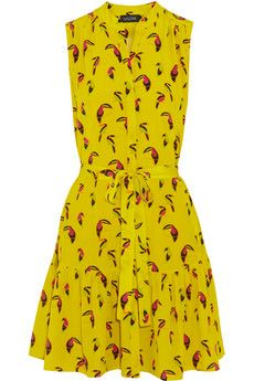 Saloni Tilly printed silk-crepe dress with waist ties and ruffled hem.  I know I could never pull this dress off, but it is amazing nonetheless.  Wear envy, definitely.