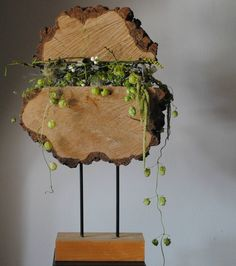 These would be very unique rustic wedding centerpieces. Wood slice centerpiece. Artist: Hanky Frèrejean