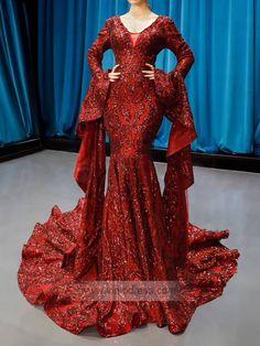 Burgundy Mermaid Prom Dresses with Sleeves Flare sleeves sparkly long prom dresses. Burgundy v neck mermaid pageant dress. Burgundy v neck mermaid pageant dress. Prom Dresses With Sleeves, Mermaid Prom Dresses, Pageant Dresses, Homecoming Dresses, Bridesmaid Dresses, Dresses Dresses, Quinceanera Dresses, Dress Prom, Dance Dresses