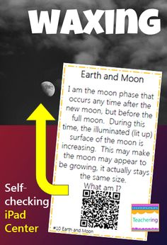 Learn about Earth & moon vocabulary with this fun, interactive, self-checking QR code game! This space and technology center includes vocabulary practice surrounding Georgia's 4th grade Science standards. Each QR code links to a vivid, labeled photograph example of the vocabulary word. Great support for ELLs and visual learners! Earth and Moon vocab included: Day Earth moon night phases of the moon revolve rotates tilt waning waxing #teachering