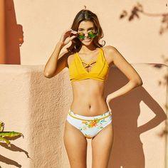 Yellow Floral Print Bikini Set