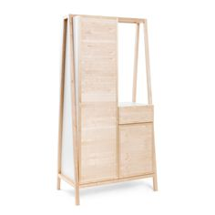 FRAME is as series of 3 furniture pieces that function as a desk, hall stand or wardrobe. The central frame made of solid high-quality birch wood can be modula Hall Stand, Clothes Rail, Bunk Beds, Ladder Decor, Furniture Design, Shelves, Austria, Drawers, Wood