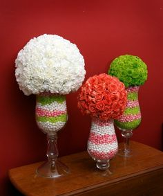 Candy and floral topiaries made a fun spring tea party dessert buffet centerpiece with Jelly Bellies.