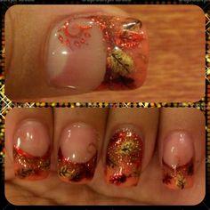 Thanksgiving nails (Fall Leaves)