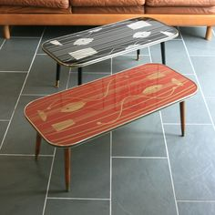 Vintage 1950s Geometric Coffee Table – Red