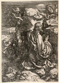 """Christ on the Mount of Olives,"" 1515, etching on iron. The National Gallery supplemented the borrowed Durer art with works from its own collection."