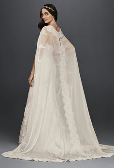 Strapless Lace Column/Sheath Wedding Gown With Chiffon/Lace Cape by Oleg Cassini for David's Bridal