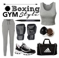 """""""Boxing: Gym Style"""" by boringlyaverage ❤ liked on Polyvore featuring LE3NO, NIKE, Skechers, Urban Decay, Lancôme, adidas and gym"""
