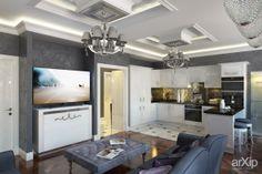 Модный интерьер: интерьер, зd визуализация, квартира, дом, кухня, ар-деко, 30 - 50 м2, интерьер #interiordesign #3dvisualization #apartment #house #kitchen #cuisine #table #cookroom #artdeco #30_50m2 #interior arXip.com