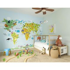 The Whole Wide World Map Wall Mural Wallpaper Mural Nautical Wallpaper, Wall Wallpaper, Bedroom Wallpaper, Feature Wallpaper, Wallpaper Paste, Trendy Bedroom, Kids Bedroom, Bedroom Ideas, Feature Wall Bedroom